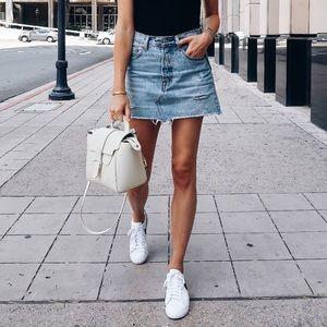 Zara Distressed Denim Mini Skirt